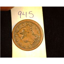 "945.1850 US Large Cent Counter marked Obv. ""Star T"" Rev. ""W.J. Green"""
