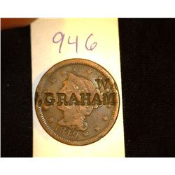 "946.1849 US Large Cent Counter marked Obv. ""WGraham"" Rev. ""Texas""."