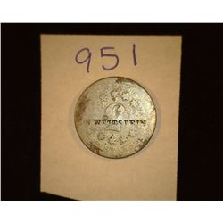 "951.ND Shield Nickel Counter marked "" H. Wettstein"" Holder says from harvard, Ill."