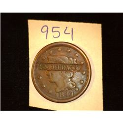"954.1847 US large Cent Counter marked ""N.J. Tracy"""