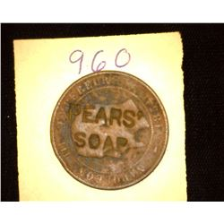 "960.Italy 10 Centimes Counter marked ""Pears Soap""."