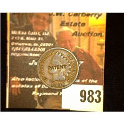 "983.1886 U.S. Indian Head Cent c/s ""Patent"" on obv."