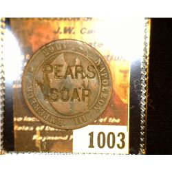"1003.         1863A France 10 Centimes c/s ""Pears/Soap""."
