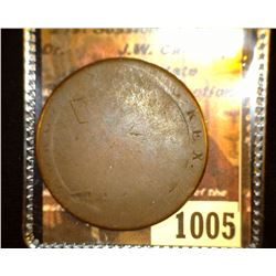 "1005.         1797 Great Britain Copper Large Penny c/s ""J.Barnden""."