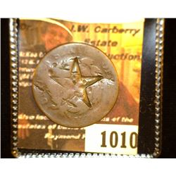1010.         1822 U.S. Large Cent, c/s of five pointed 'Texas' Star on both obverse and reverse.