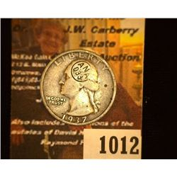 "1012.         1937 S Washington Silver Quarter c/s in circle ""ANA/033"". 'Doc' states this is a Milit"