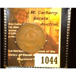 "1044.         1865 U.S. Two Cent Piece c/s ""J.Lewi__""."