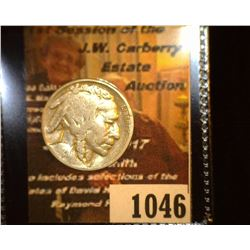 "1046.         1929 Buffalo Nickel c/s ""GB""."
