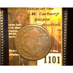 "1101.         1838 U.S. Large Cent c/s ""S.M."" three times."