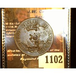 """1102. 1818 U.S. Large Cent c/s """"LxK"""" on obverse and reverse, hole in center."""