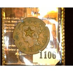1106. 1848 U.S. Large Cent c/s with a five-pointed star.