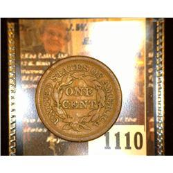 """1110. 1850 U.S. Large Cent Counter marked Obv. """"M.W.B."""""""