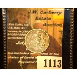 """1113. 1875 U.S. Seated Liberty Dime c/s """"HARRY./HOWE."""" & a five-pointed star beneath."""
