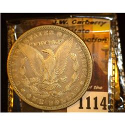 "1114.         1879 P U.S. Morgan Silver Dollar c/s ""C.V.KENNEDY"" on the obverse."