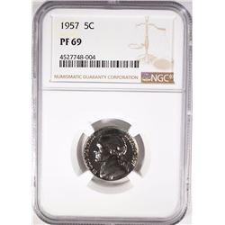 1957 JEFFERSON NICKEL, NGC PF-69