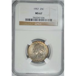 1957 WASHINGTON QUARTER NGC MS 67  GREAT COLOR