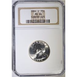 1964-D WASHINGTON QUARTER, NGC  MS-66