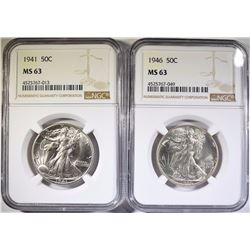 1941 & 1946 WALKING LIBERTY HALF DOLLARS, NGC MS-63