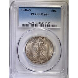 1946-S WALKING LIBERTY HALF DOLLAR, PCGS MS-64