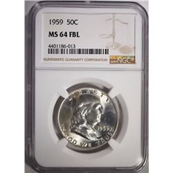1959 FRANKLIN HALF DOLLAR, NGC MS-64 FBL