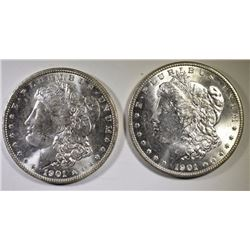 ( 2 ) 1901-O MORGAN SILVER DOLLARS, CHOICE BU
