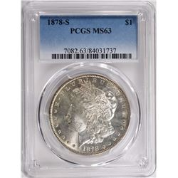 1878-S MORGAN SILVER DOLLAR PCGS MS63