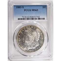 1881-S MORGAN SILVER DOLLAR PCGS MS63