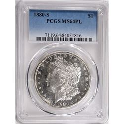 1880-S MORGAN SILVER DOLLAR PCGS MS64 PL