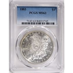 1883 MORGAN SILVER DOLLAR PCGS MS63