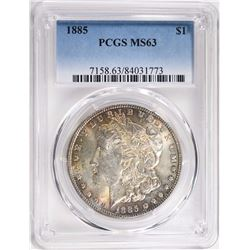 1885 MORGAN SILVER DOLLAR PCGS MS63  TONED