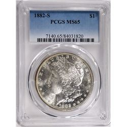 1882-S MORGAN SILVER DOLLAR PCGS MS65