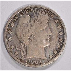 1902-S BARBER HALF DOLLAR - VF+ SCRATCH OBV.