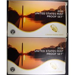 2013 & 2014 U.S. PROOF SETS IN ORIGINAL  PACKAGING