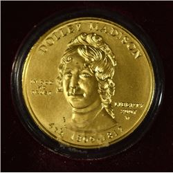 2007 DOLLEY MADISON FIRST SPOUSE HALF OUNCE GOLD UNC  COIN ORIGINAL BOX/COA