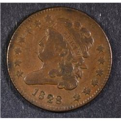 1828 HALF CENT CH BU  A LITTLE RED YET