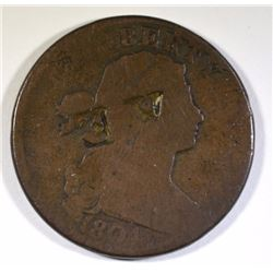 "RARE! 1804 LARGE CENT GOOD, NICE CLEAR DATE, COUNTER-STAMPED ""AE"" 200 YEARS AGO"