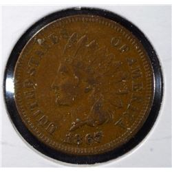 1867 INDIAN HEAD ONE CENT BROWN AU  SEMI-KEY  NICE