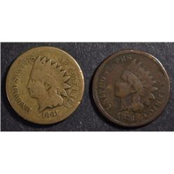 2 INDIAN HEAD CENTS: 1876 VG/FINE & 1861 GOOD-VG