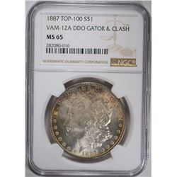 1887 TOP-100 MORGAN SILVER DOLLAR VAM-12A DDO GATOR & CLASH NGC MS 65