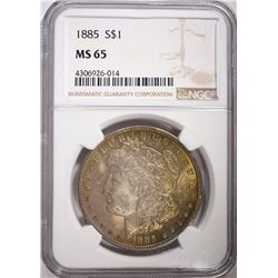 1885 MORGAN SILVER DOLLAR NGC MS 65