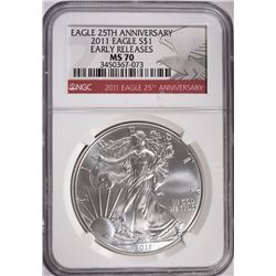 2011 AMERICAN SILVER EAGLE DOLLAR EARLY RELEASES NGC MS 70