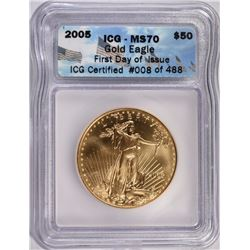 2005 $50 ST GAUDENS GOLD ICG MS70