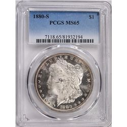 1880-S MORGAN SILVER DOLLAR PCGS MS65