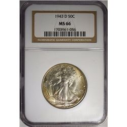 1943-D WALKING LIBERTY HALF DOLLAR NGC MS 66