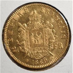 1869 BB GOLD 20 FRANCS FRANCE CH.BU  LITE TONE