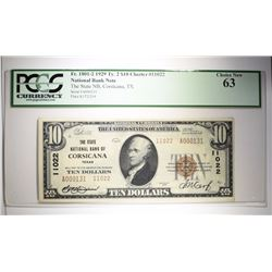 1929 $10 NATIONAL CURRENCY TY. 2 PCGS 63 STATE NB, CORSICANA, TX  VERY RARE