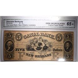 1860's $5 OBSOLETE BANKNOTE THE CANAL BANK NEW ORLEANS, LOUISIANA CGA 65*