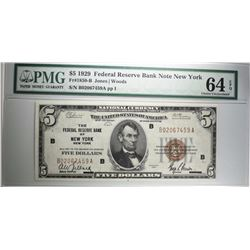1929 $5 FEDERAL RESERVE BANK NOTE NEW YORK FR#1850-B PMG 64EPQ