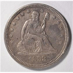 1858 SEATED QUARTER, AU/UNC