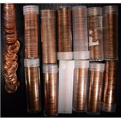 BU LINCOLN MEMORIAL CENTS: 13 ROLLS MIXED DATES: 1957.,61-D, 63-D, 68-S &  MORE